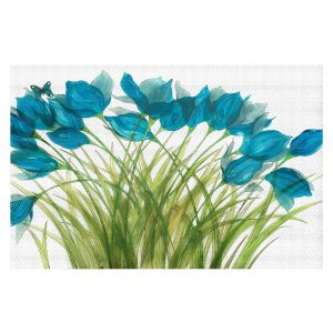 Decorative Floor Covering Mats | Paper Mosaic Studio - Blue in Breeze | Flower floral