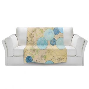 Artistic Sherpa Pile Blankets   Paper Mosaic Studio - Blue Journey   Bubble abstract pattern
