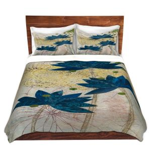 Artistic Duvet Covers and Shams Bedding | Paper Mosaic Studio - Blue Lotus