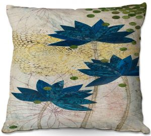 Unique Outdoor Pillow 18X18 from DiaNoche Designs by Paper Mosaic Studio - Blue Lotus