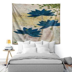 Unique Wall Tapestry 51X60 from DiaNoche Designs by Paper Mosaic Studio - Blue Lotus
