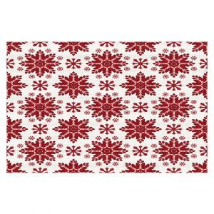 Decorative Floor Covering Mats | Paper Mosaic Studio - Christmas Folk Art | Pattern snowflake holiday xmas