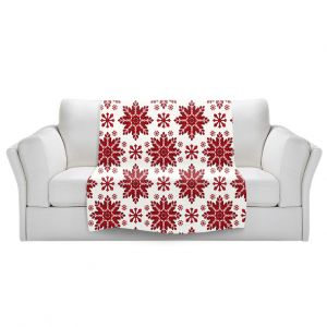 Artistic Sherpa Pile Blankets   Paper Mosaic Studio - Christmas Folk Art   Pattern snowflake holiday xmas