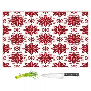 Artistic Kitchen Bar Cutting Boards | Paper Mosaic Studio - Christmas Folk Art | Pattern snowflake holiday xmas