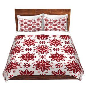 Artistic Duvet Covers and Shams Bedding | Paper Mosaic Studio - Christmas Folk Art | Pattern snowflake holiday xmas
