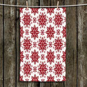 Unique Hanging Tea Towels | Paper Mosaic Studio - Christmas Folk Art | Pattern snowflake holiday xmas