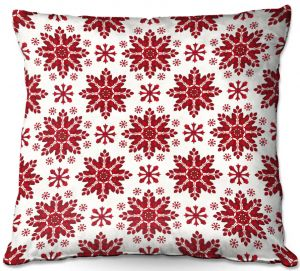 Decorative Outdoor Patio Pillow Cushion | Paper Mosaic Studio - Christmas Folk Art | Pattern snowflake holiday xmas