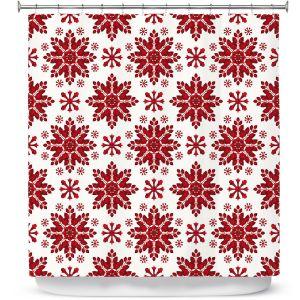 Premium Shower Curtains | Paper Mosaic Studio - Christmas Folk Art | Pattern snowflake holiday xmas