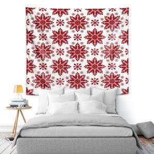 Artistic Wall Tapestry | Paper Mosaic Studio - Christmas Folk Art | Pattern snowflake holiday xmas