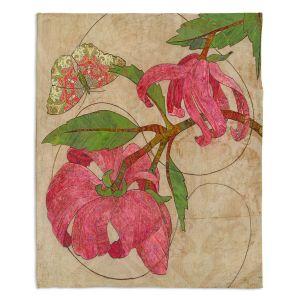 Decorative Fleece Throw Blankets | Paper Mosaic Studio - Encircle | flower floral nature