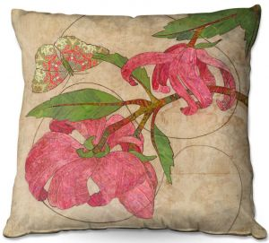 Decorative Outdoor Patio Pillow Cushion | Paper Mosaic Studio - Encircle | flower floral nature