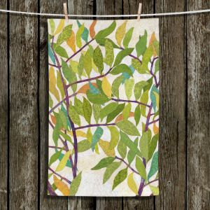 Unique Hanging Tea Towels | Paper Mosaic Studio - Happy Tree 2 Center | Nature branches leaves