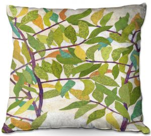 Throw Pillows Decorative Artistic | Paper Mosaic Studio - Happy Tree 2 Center | Nature branches leaves