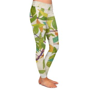 Casual Comfortable Leggings | Paper Mosaic Studio - Happy Tree 2 Right | Nature branches leaves