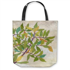 Unique Shoulder Bag Tote Bags | Paper Mosaic Studio - Happy Tree 2 Right | Nature branches leaves