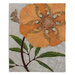 Decorative Fleece Throw Blankets | Paper Mosaic Studio - Orange Flower