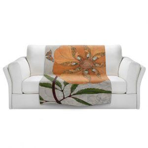 Artistic Sherpa Pile Blankets | Paper Mosaic Studio - Orange Flower