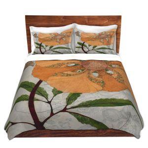 Artistic Duvet Covers and Shams Bedding | Paper Mosaic Studio - Orange Flower
