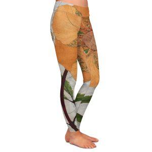 Casual Comfortable Leggings | Paper Mosaic Studio - Orange Flower