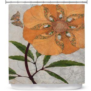 Premium Shower Curtains | Paper Mosaic Studio - Orange Flower