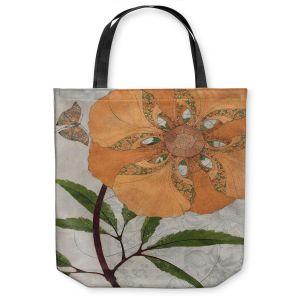 Unique Shoulder Bag Tote Bags | Paper Mosaic Studio - Orange Flower