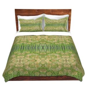 Artistic Duvet Covers and Shams Bedding | Paper Mosaic Studio - Pattern Moss Beige