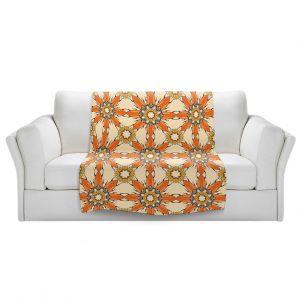 Artistic Sherpa Pile Blankets | Paper Mosaic Studio - Pattern Orange