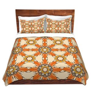 Artistic Duvet Covers and Shams Bedding | Paper Mosaic Studio - Pattern Orange
