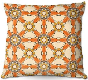 Decorative Outdoor Patio Pillow Cushion | Paper Mosaic Studio - Pattern Orange