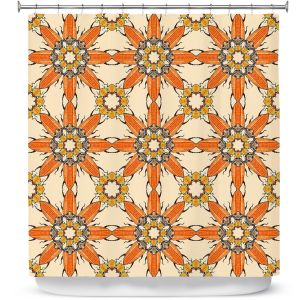 Premium Shower Curtains | Paper Mosaic Studio - Pattern Orange