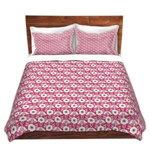 Artistic Duvet Covers and Shams Bedding   Paper Mosaic Studio - Pattern Red White