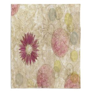 Decorative Fleece Throw Blankets | Paper Mosaic Studio - Reach | Nature floral bubble pattern