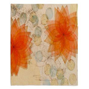 Decorative Fleece Throw Blankets | Paper Mosaic Studio - Spacey Orange Flowers