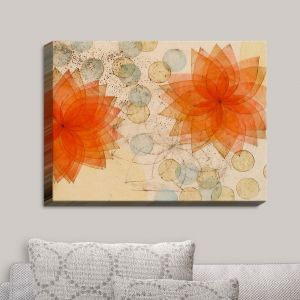 Decorative Canvas Wall Art | Paper Mosaic Studio - Spacey Orange Flowers | Patterns Shapes