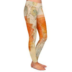 Casual Comfortable Leggings   Paper Mosaic Studio - Spacey Orange Flowers