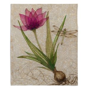Decorative Fleece Throw Blankets | Paper Mosaic Studio - Uprooted 3 | Flower bulb root floral