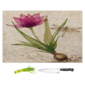 Artistic Kitchen Bar Cutting Boards | Paper Mosaic Studio - Uprooted 3 | Flower bulb root floral