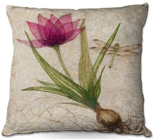 Throw Pillows Decorative Artistic | Paper Mosaic Studio - Uprooted 3 | Flower bulb root floral