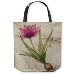 Unique Shoulder Bag Tote Bags | Paper Mosaic Studio - Uprooted 3 | Flower bulb root floral