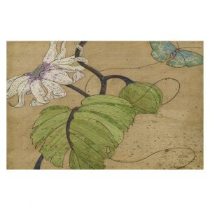 Decorative Floor Coverings | Paper Mosaic Studio - White Flower Blue Butterfly