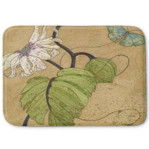 Decorative Bathroom Mats | Paper Mosaic Studio - White Flower Blue Butterfly