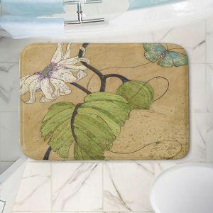 Decorative Bathroom Mats | Paper Mosaic Studio - White Flower Blue Butterfly