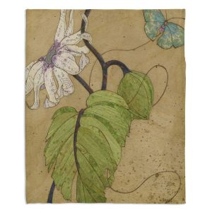 Artistic Sherpa Pile Blankets | Paper Mosaic Studio - White Flower Blue Butterfly