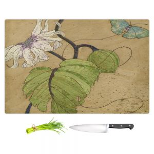Artistic Kitchen Bar Cutting Boards | Paper Mosaic Studio - White Flower Blue Butterfly