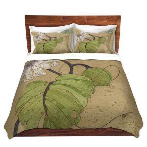 Artistic Duvet Covers and Shams Bedding | Paper Mosaic Studio - White Flower Blue Butterfly