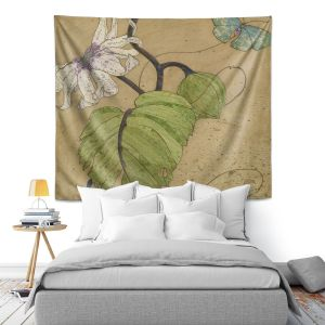 Artistic Wall Tapestry | Paper Mosaic Studio - White Flower Blue Butterfly