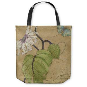 Unique Shoulder Bag Tote Bags | Paper Mosaic Studio - White Flower Blue Butterfly