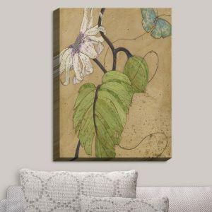 Decorative Canvas Wall Art | Paper Mosaic Studio - White Flower Blue Butterfly | Bugs Flower