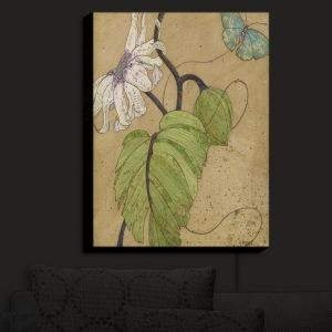 Nightlight Sconce Canvas Light | Paper Mosaic Studio - White Flower Blue Butterfly | Bugs Flower