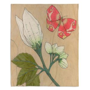 Decorative Fleece Throw Blankets | Paper Mosaic Studio - White Flower Red Butterfly